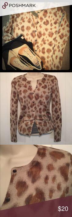 LOFT Animal Print Cardigan Sweater 100% merino wool, size extra small petite, long sleeved cardigan LOFT Sweaters Cardigans