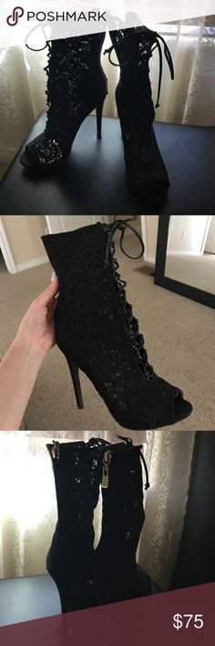 Bebe lace booties Bebe lace booties very rare size 9. Only worn a couple times bebe Shoes