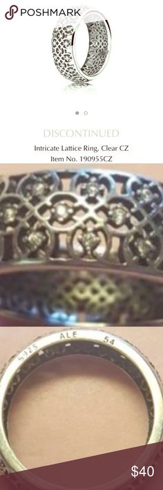 PANDORA 🦋 LACE LATTICE RING 💍 Authentic Pandora Lattice Ring w/White Crystals 🦋 Excellent Condition 💍 Size 54 ( 7 ) 🌸 Beautiful & Delicate Stand Alone Ring That Will Command Compliments Where Ever You Go 💕 Pandora Jewelry Rings