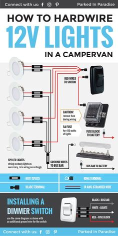How To Wire 12 Volt LED Lights In Your Camper Van Conversion Great diagram that explains exactly what you need to know about hardwiring 12 volt lights! This is perfect for any campervan or RV interior electric system. Good lighting sets the mood and can m Vw T3 Camper, T3 Vw, Cargo Trailer Camper, Truck Camper, Car Trailer, Vw T5, 12v Led Lights, Solar Powered Lights, Teardrop Trailer Interior
