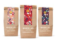 Coffee Packaging - - Coffee packaging for Suzy-Jo Donuts *student work*. Spices Packaging, Food Packaging Design, Coffee Packaging, Coffee Branding, Brand Packaging, Coffee Labels, Bottle Packaging, Tea Design, Coffee Design