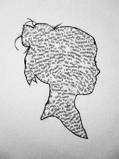 love this silhouette! (i love that there are no full words on her--just like she is thinking and putting them together..)