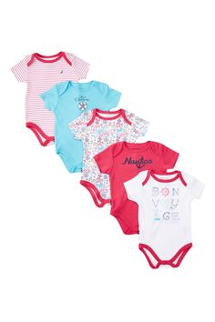 Nautical Bodysuit Set - Pack of 5 (Baby Girls) by Nautica on @HauteLook