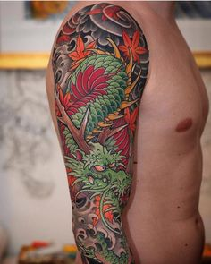 dragon sleeve tattoo japanese