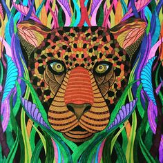 """""""#myaddiction #adultcoloring #adultcolouring #adultcoloringbook #leopard #colourful #milliemarotta #mytime"""""""