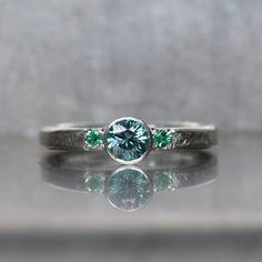 Blue Zircon Emerald Engagement Ring Silver Mermaid - Meerjungfrau by NangijalaJewelry on Etsy