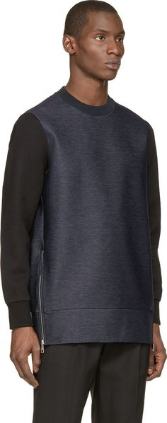 Neil Barrett Blue Denim Long Bomber Sweatshirt