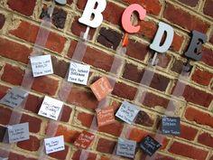 Easy Alphabet Escort Card Idea from www.rubiesandpearlsllc.com