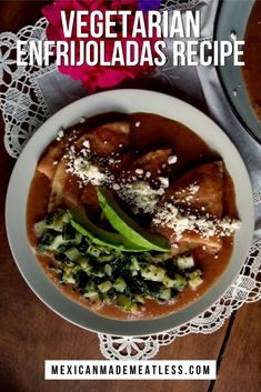 Enfrijoladas are the cousins of the enchiladas. Enfrijoladas are made by dipping corn tortillas into a creamy bean sauce. This Mexican Recipe is easy to make with pantry foods. Try my quick and easy vegetarian recipe with a vegan option. #Enfrijoladas #enchiladas #tortillas #bean #MexicanRecipe #vegetarian Mexican Beans Recipe, Vegetarian Mexican Recipes, Healthy Taco Recipes, Healthy Tacos, Vegetarian Recipes Easy, Bean Recipes, Veggie Recipes, Delicious Recipes, Healthy Food