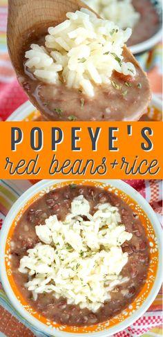 Easy Rice Recipes, Dog Recipes, Bean Recipes, Mexican Food Recipes, Dinner Recipes, Cooking Recipes, Dinner Ideas, Popeyes Red Beans And Rice Recipe, Rice