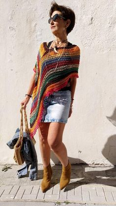 Multicolored boho poncho, vegan cotton poncho, hippie chic knit poncho, beach cover up, women knit poncho - Stola Stricken Poncho Au Crochet, Pull Crochet, Knit Crochet, Hippie Chic, Boho Chic, Boho Style, Style Bobo Chic, Crochet Capas, Shawls And Wraps