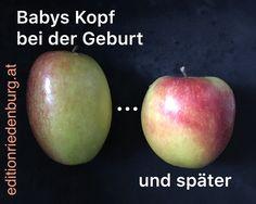 Babys Kopf bei der Geburt ... und später. Bücher zur natürlichen Geburt, auch nach Kaiserschnitt, auf www.editionriedenburg.at