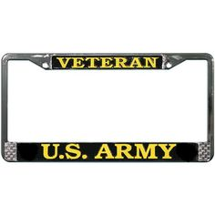 u s army veteran chromed steel license plate frame lfav