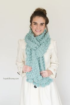 Snowbird Picot Pompom Scarf - Giveaway + Crochet Pattern
