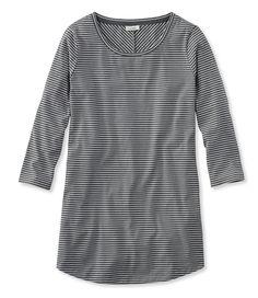 Stripe Tunic Tee, Three-Quarter-Sleeve