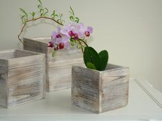 wood boxes square wood box vases wedding orchids flower pot centerpiece barn rustic garden chic wedding boxes by MalvinaArt on Etsy https://www.etsy.com/listing/191484723/wood-boxes-square-wood-box-vases-wedding