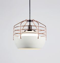 Bluff City 14 Inch Pendant Light by Roll & Hill - Color: White - Finish: White/Copper - Home Lighting, Modern Lighting, Lighting Design, Pendant Lighting, Roll Hill, Bluff City, White Pendant Light, Led Desk Lamp, Farmhouse Chic