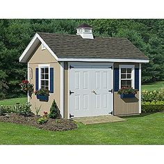 garden shed (kit), 10 x 16, unfinished, ready to paint in any color scheme, windows and doors placement flexible. solid steel doors (Floor, shingles, paint and cupola not included). I know I can beat this price, but like the idea and size is probably ample.
