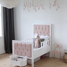Thursday Nursery Inspo! I love this dinky little bed, the pinks and whites and he contrast of the statement dark curtains featuring a beautiful Maileg bunny (the best ) sometimes simple is best! Pic from Pinterest. If anyone ever finds this bed in real life please let me know ♀️ ⠀⠀⠀⠀⠀⠀⠀⠀⠀ . . . . . . . . . #thebabysleepshop #driftingaway #nurseryinspo #kidspiration #nurserydesign #mailegworld #kidsrooms #mykidsdigs #pinkandwhite #balletnursery #littleballerina #kidsbeds #babycot #babybed…