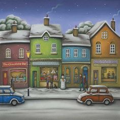 A Christmas Wish by Paul Horton - Contemporary Paintings & fine art pictures available in our gallery - Free delivery on all orders over Christmas Wishes, Christmas Art, Paul Horton, Buildings Artwork, Naive Art, Drawing Skills, Old Fashioned Christmas, Winter Scenes, Christmas Pictures