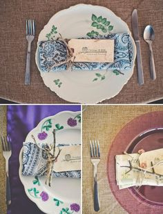 I love the rustic yet vintage feel of this #wedding place setting! From http://greenweddingshoes.com/autumn-skeleton-key-wedding-victoria-josh/  Photo Credit: http://connectionphoto.com/