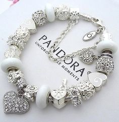 Authentic-PANDORA-Sterling-Silver-Bracelet-with-White-Crystal-Heart-Charms-Beads