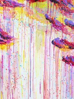 APRIL SHOWERS - 18 x 24 Beautiful Bright Abstract Acrylic Painting, Warm Colorful Rain Clouds Stormy Day Original Art by EbiEmporium on Etsy https://www.etsy.com/listing/128544678/april-showers-18-x-24-beautiful-bright
