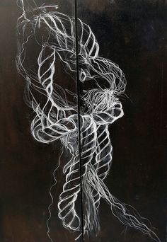 Rope Study (charcoal, bitumen on canvas) Charcoal Art, Charcoal Drawing, Pirate Quilt, Rope Drawing, Rope Tattoo, Waste Art, A Level Textiles, Into The West, High Art