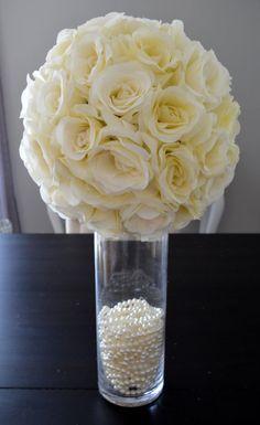 Ivory Cream flower ball Premium soft silk WEDDING by KimeeKouture