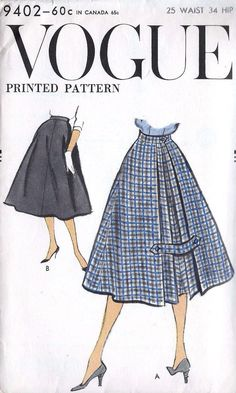 vintage sewing patterns Vogue 9402 skirt with inverted pleat at centre back with pleat either side; 1950s Style, Vintage Outfits, Vintage Dresses, 1950s Fashion, Vintage Fashion, Trendy Fashion, Fashion Fashion, Fashion Ideas, Vintage Vogue Patterns
