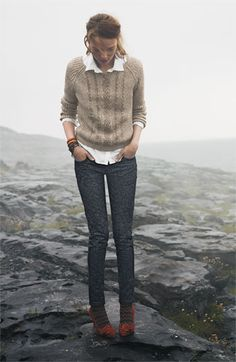 Caslon® Sweater, Shirt & Wit & Wisdom Skinny Jeans | Nordstrom. I think I can get on board with the printed jeans.