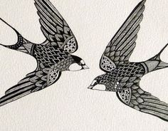An original artwork, hand drawn using a very fine tipped archival ink pen, depicting a pair of swift birds. This artwork is very detailed, with many tiny fine lines creating beautiful patterns. Paper x × Materials: Archival pigment ink on quality art Bird Line Drawing, Bird Drawings, Doodle Drawings, Doodle Art, Tattoo Drawings, Swift Bird, Sharpie Art, Bird Art, Original Artwork