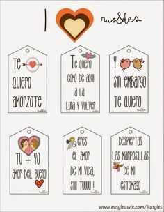Rus&Les: Etiquetas Amorosas by Rus&Les Ideas Aniversario, Boyfriend Gifts, Envelopes, Diy Gifts, Gift Tags, Diy And Crafts, Clip Art, Valentines, Printables