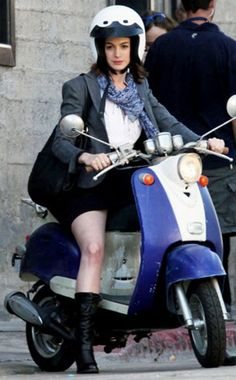 Anne Hathaway on a Vespa..Love her and love Vespas!