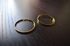 Gold Hoop Earrings Unisex Large Hoop Earrings by SassyandCool