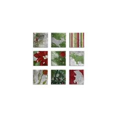 'Silver/Red/Green Nature Christmas' 9 Piece Canvas Wall Art Set ❤ liked on Polyvore featuring home, home decor, wall art, silver wall art, silver canvas wall art, canvas wall art, silver home accessories and canvas home decor