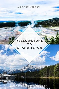 A four day suggested itinerary for Yellowstone National Park to Grand Teton National Park Covering both parks top highlights. Including Old Faithful, Grand Prismatic Spring, String Lake and Jenny Lake. Featuring Hikes, Photo Opportunities and Adventure. Us National Parks, Grand Teton National Park, Glacier National Park Montana, Au Pair, Nashville, Yellowstone Nationalpark, Yellowstone Vacation, Yellowstone Park, Travel Usa