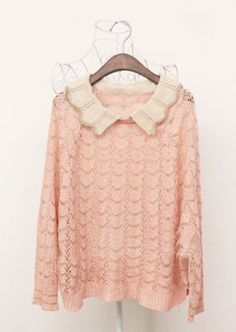Pink Contrast Collar Long Sleeve Zigzag Pullovers Sweater