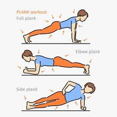 El ejercicio de la plancha quema grasa y fortalece los músculos de la espalda, del estómago, de los brazos, de las piernas y de los glúteos.