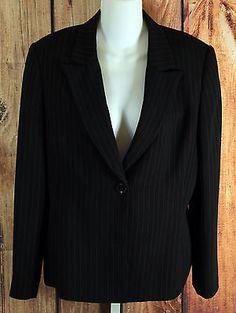 Tahari By Arthur S Levine Black Pinstripe Blazer Jacket Womens Size 12