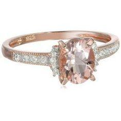 Rose Gold Plated Sterling Silver Morganite and Diamond Ring #jewelryfashion -  http://www.amazon.com/gp/product/B00C1731KG?ie=UTF8&camp=1789&creativeASIN=B00C1731KG&linkCode=xm2&tag=casuarioscom-20
