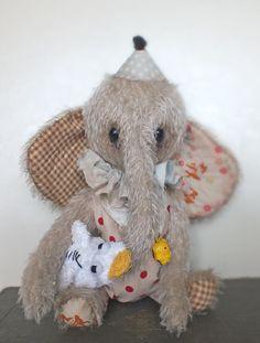 Cute BABY Circus Elephant MOJO mohair stuffed animal - vintage style & jointed toy - artist bear. £52.00, via Etsy.