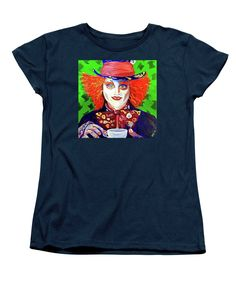 Vibrant Mad Hatter Portrait Women's T-Shirt (Standard Cut) featuring the painting Mad Cuppa by Donna Lee Curtis