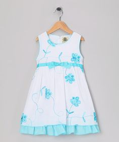 This White & Blue Flower Bow Dress - Infant, Toddler & Girls by Lil Cactus is perfect! #zulilyfinds