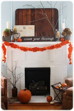 Festive Fall Fireplace Mantels