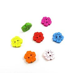 100x Arts Crafts Flatback Colorful Lovely Clothing Accessory Handmade Cute Multi Pattern Plush DIY Accessories Sewing Wood Buttons Supplies NK2344 Mixed Flowers ** More info could be found at the image url.