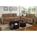 POUNDEX Furniture - 5 Piece Saddle Microfiber Living Room Set with Ottomans - F7552