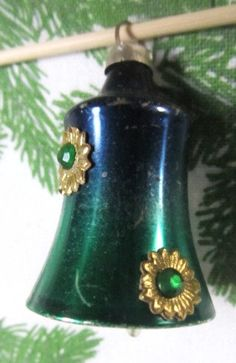 Vintage 1960s Blue Green Mercury Glass Bell by AuntSuesVintage, $4.99