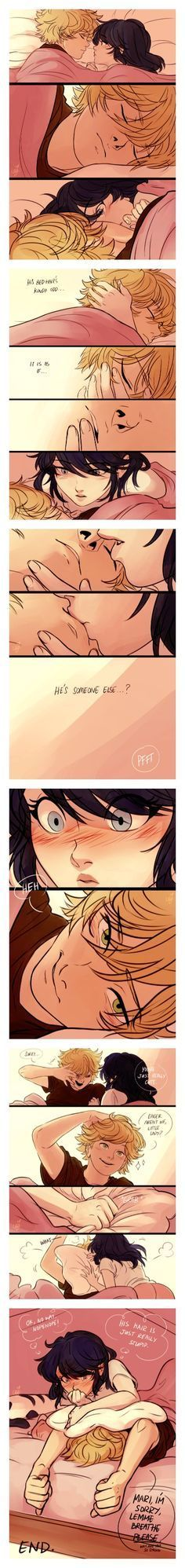 X3 too cute!! (Miraculous Ladybug, Adrien, Marinette, Adrinette, kiss, comic)