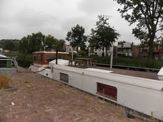 along the canal of Heerenveen in the Netherlands